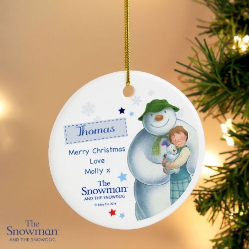 Personalised The Snowman and the Snowdog Blue Round Decoration